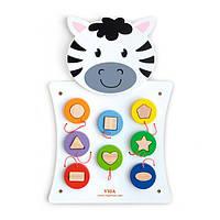 """Іграшка настінна Viga Toys """"Зебра з фігурками"""" (50681)"""