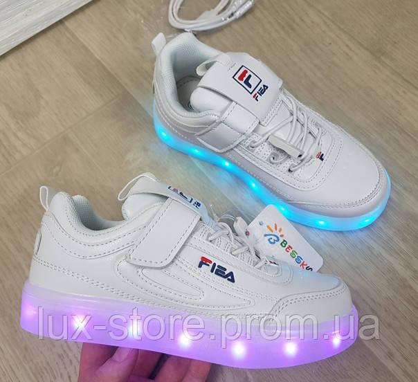 Кеды для подростка белые с  led подсветкой