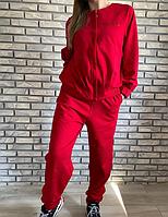 Спортивный костюм женский трикотаж в камнях красный размер 48 50 52