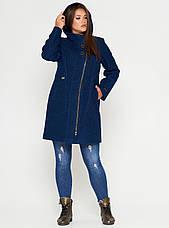 Пальто женское Батал (весна-осень) с капюшоном, темная пудра (48-60), фото 2