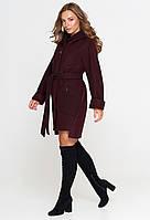 Короткое женское пальто (весна-осень) с капюшоном, марсала (40-54)