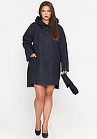 Короткое женское пальто (весна-осень) с капюшоном, черное (40-54)