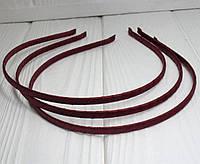 Обруч для волос обмотанный атласной лентой (ширина 5мм). Цвет - бордовый (сп7нг-4553)