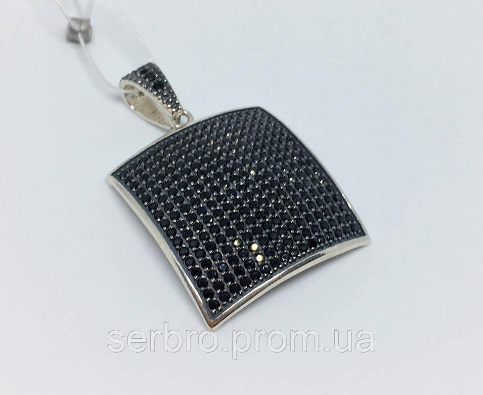 Квадратний срібний підвіс з цирконами Малевич
