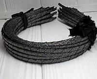 (50шт) Обруч  обмотанный люрексовой лентой  (5мм металлический).Цена за 50 шт. Цвет - графит (сп7нг-4687)