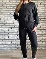 Костюм спортивный женский трикотаж в камнях черный размер 44 46 48 50 52