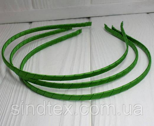 Обруч для волос обмотанный атласной лентой (ширина 5мм). Цвет - зеленый (сп7нг-0117), фото 2
