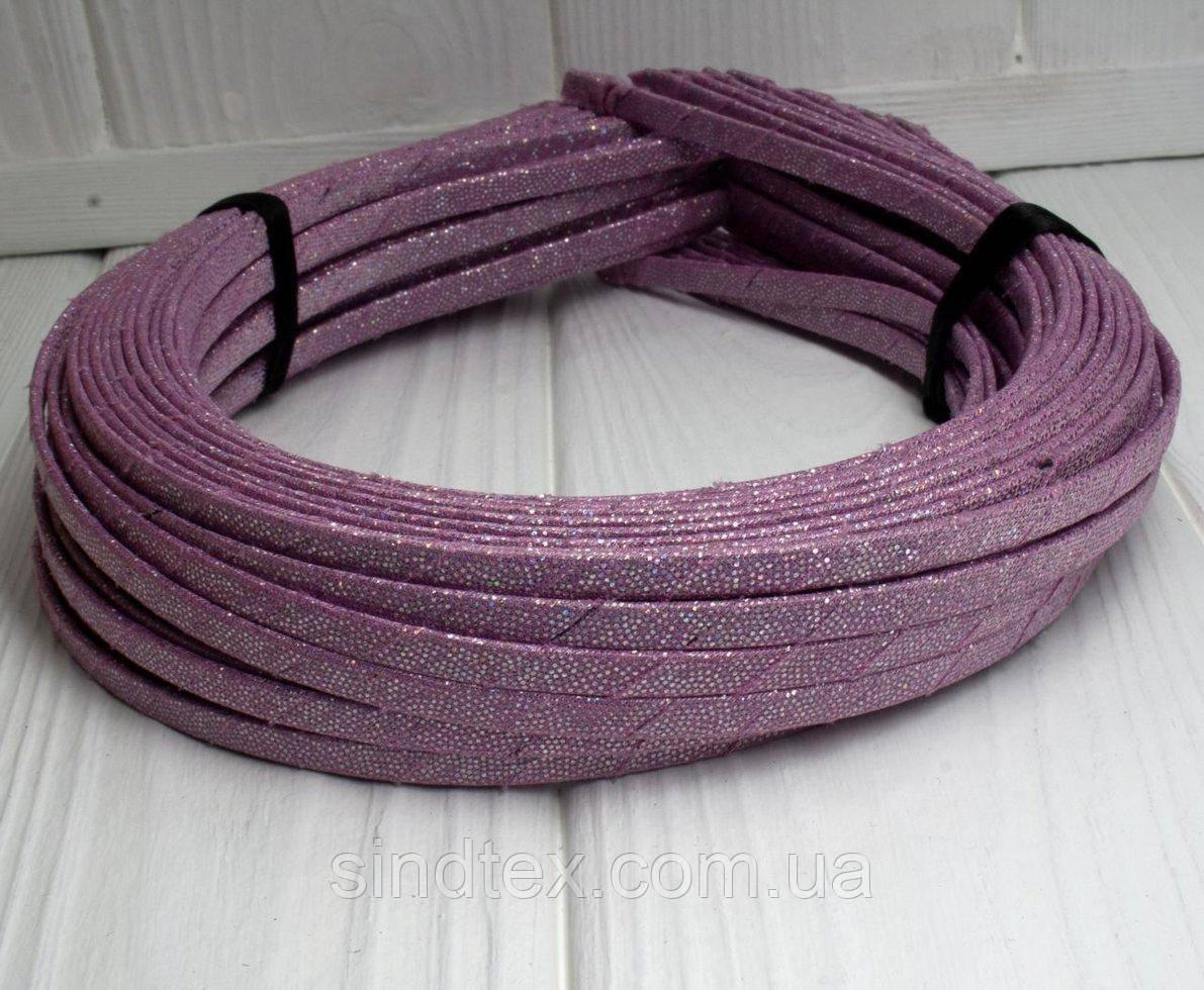 (50шт) Обруч  обмотанный люрексовой лентой  (5мм металлический).Цена за 50 шт. Цвет - пудровый (сп7нг-3383)