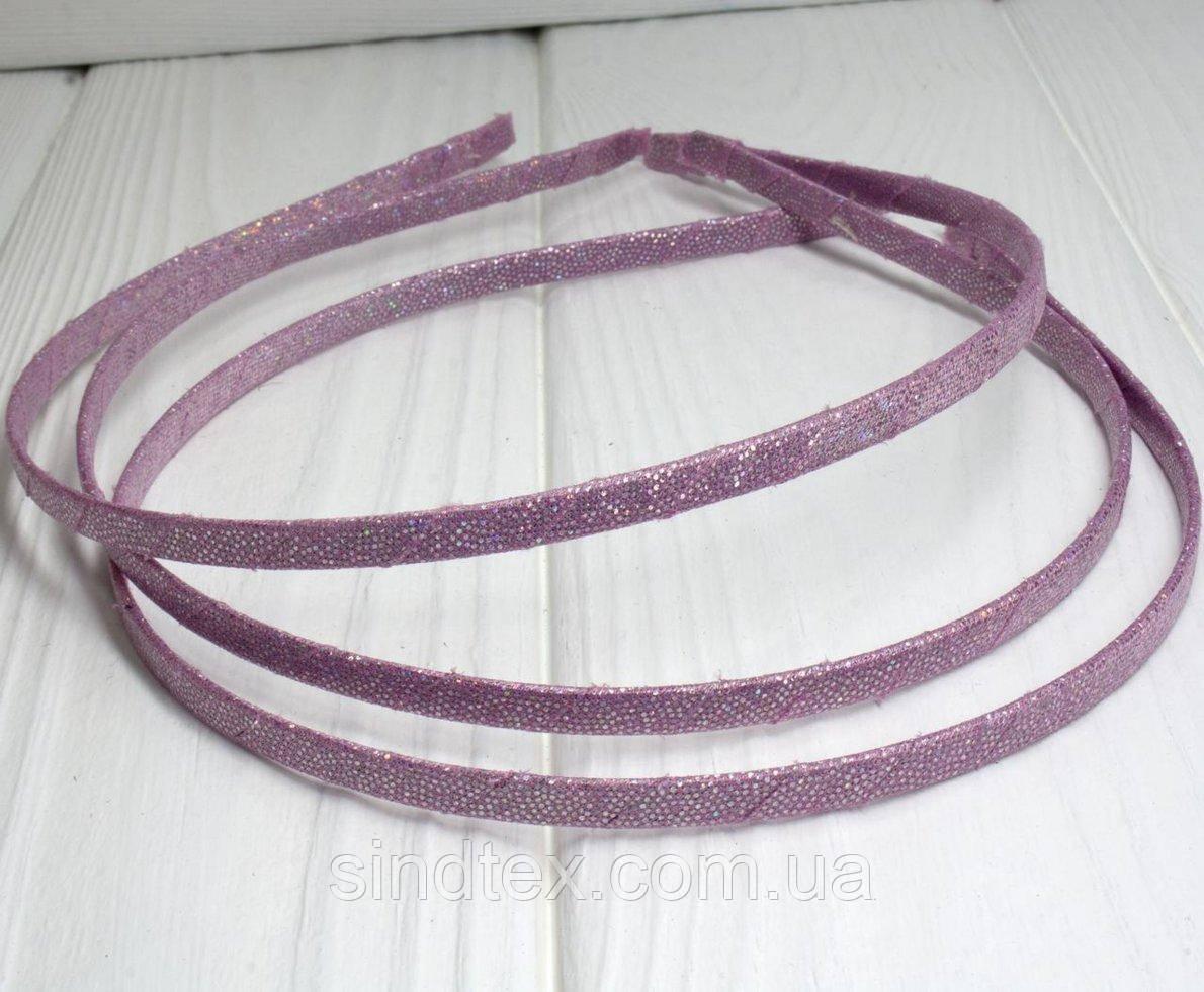 Обруч для волос обмотанный люрексовой лентой (ширина 5мм). Цвет - пудровый (сп7нг-0203)