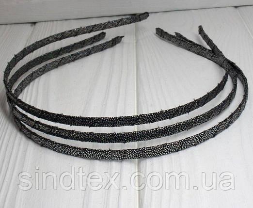 Обруч для волос обмотанный люрексовой лентой (ширина 5мм). Цвет - графит (сп7нг-0204), фото 2