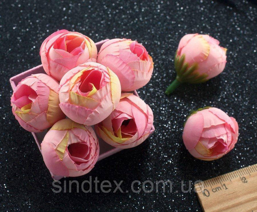 "(10шт) Головы цветов ""Бутоны"" Ø25мм Цвет - Розовые переливы (сп7нг-2163)"