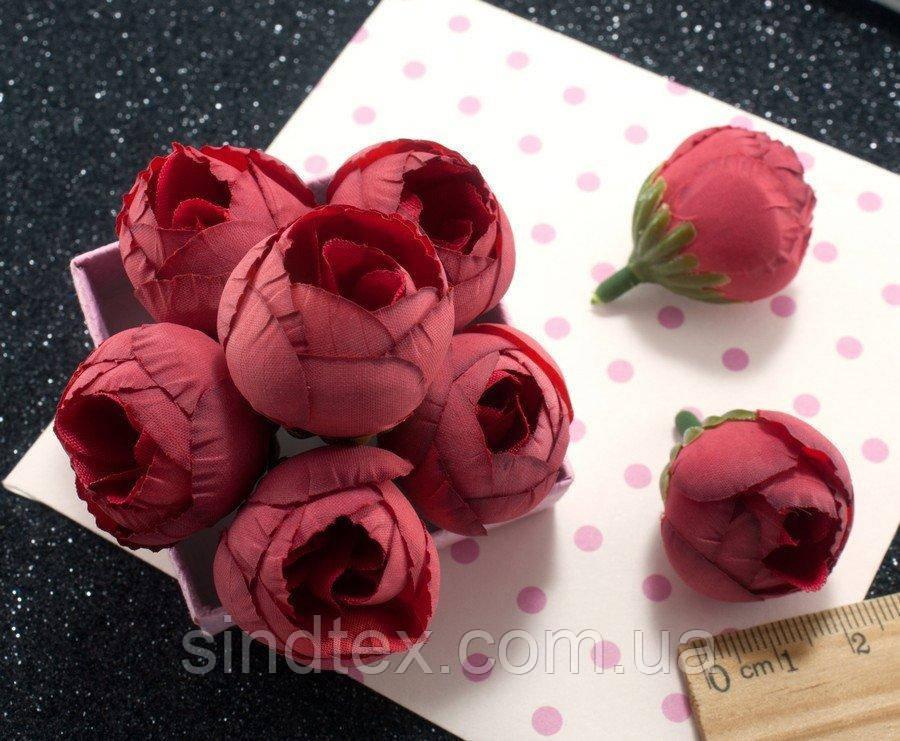 """(10шт) Головы цветов """"Бутоны"""" Ø25мм Цвет - Красный (приглушенный) (сп7нг-2165)"""
