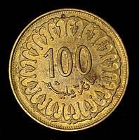 Монета Туниса 100 миллимов 1993 г.