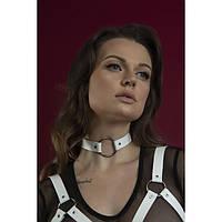 Чокер с кольцом Feral Feelings - O-Ring Collar белый, натуральная кожа