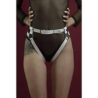Гартеры Feral Feelings - Belt Briefs белые, трусики, натуральная кожа