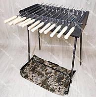 Мангал раскладной в чемодан 3 мм 12 шампуров с деревянными ручками и чехлом в комплекте
