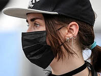 Упаковка 100 шт Маска трехслойная защитная для лица из Спандбонда Black Mask