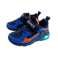 Кроссовки светящиеся СВТ синие для мальчиков (р.26)