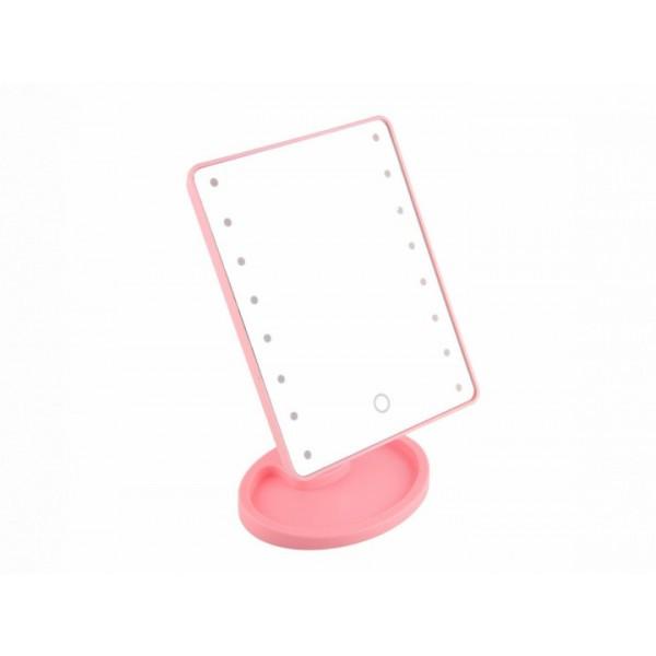 Настольное косметическое зеркало с LED подсветкой сенсорное Smart Touch Mirror 16 светодиодов Pink