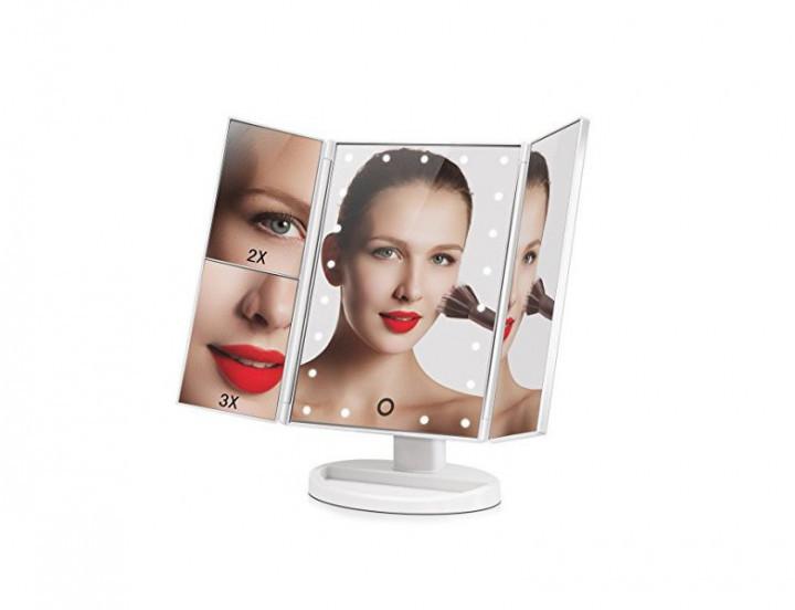 Косметическое зеркало для макияжа настольное с Led подсветкой  сенсорное 22 LED Large Mirror Белое
