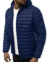 Куртка мужская демисезонная стеганая с капюшоном (Куртка мужская весенняя) J.STYLE Синий LSLY35-2