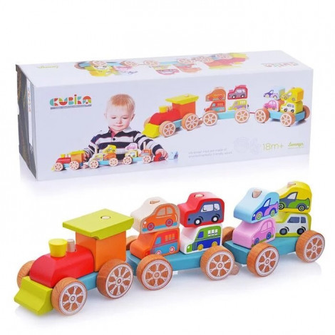 Дерев'яна іграшка Cubika Поїзд з машинками (13999)