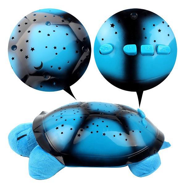 Детский цветомузыкальный ночник проектор звездного неба Черепаха Голубой Детский ночной светильник