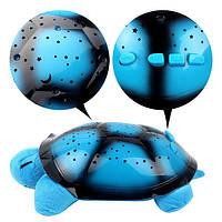 Детский цветомузыкальный ночник проектор звездного неба Черепаха Голубой Детский ночной светильник, фото 1