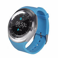 Наручные смарт-часы для Android Smart Watch Y1, умные смарт вотч с пульсометром и шагомером голубые