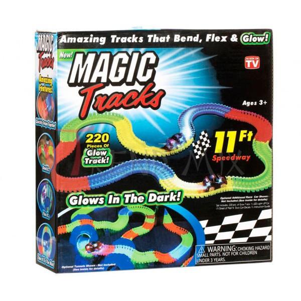 Magic Tracks 220 деталей светящаяся гоночная трасса меджик трек дорога автотрек для детей меджик 3.2 метра