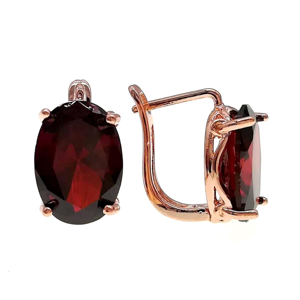 Сережки SONATA з медичного золота, гранатово-червоні фіаніти, позолота PO, 24348