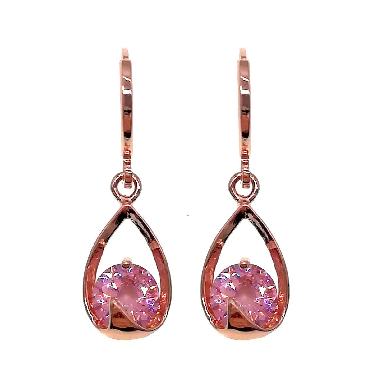 Сережки SONATA з медичного золота, рожеві фіаніти, позолота PO, 24367 (1)