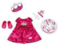 Детская Игровая Одежда для Куклы Бэби Борн Набор День рождения красный с короной 43 см Baby Born Zapf Creation