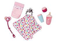 Детский Игровой Набор аксессуаров для Куклы Беби Бон розовый 6 предметов Baby Born Zapf Creation из пластика