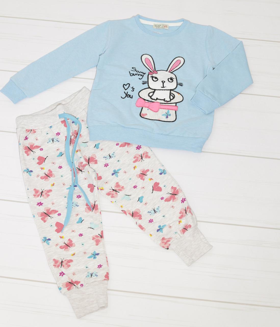 Костюм демисезонный для девочки двунитка: свитшот длинный рукав +штаны, Paty Kids