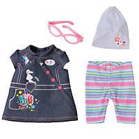 Детский Игровой Набор Джинсовой Одежды с сарафаном  для Куклы Бэби Борн 43 см 4предмета Baby Born Zapf Creation