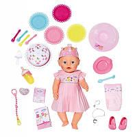 Детская Игровая Кукла Беби Бон Набор День рождения 43 см в розовом платье с короной Baby Born Zapf Creation