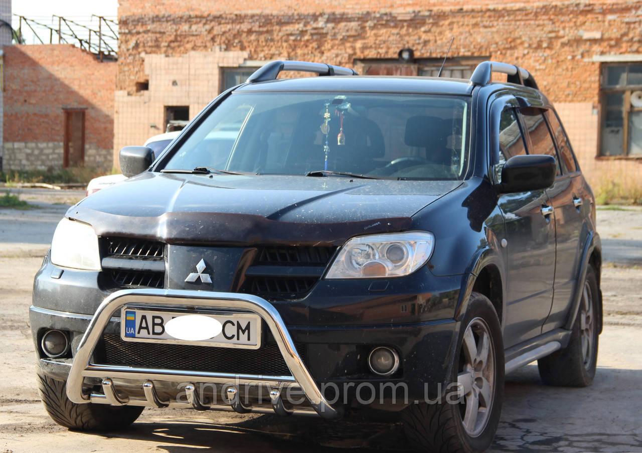 Кенгурятник с грилем (защита переднего бампера) Mitsubishi Outlander 2003-2007