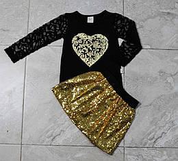 Костюм-двойка черно-золотистого цвета с пайетками для девочки, LILAX