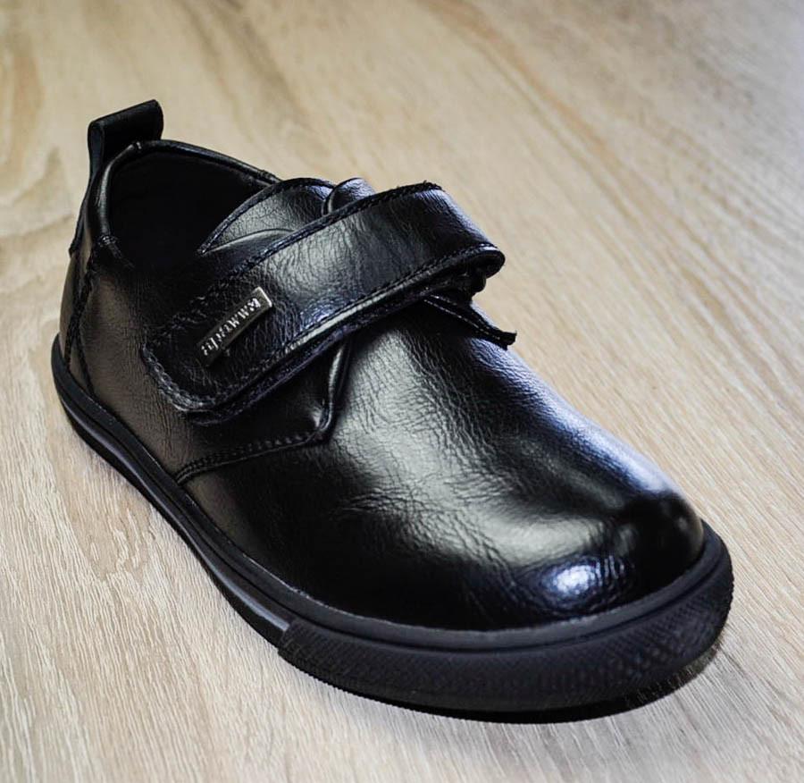 Туфли черного цвета на липучках для мальчика, APAWWA