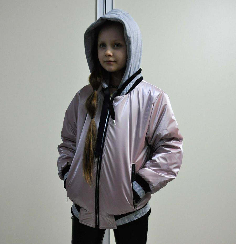 Куртка пудрового цвета с капюшоном для девочки, Feng Shuoda