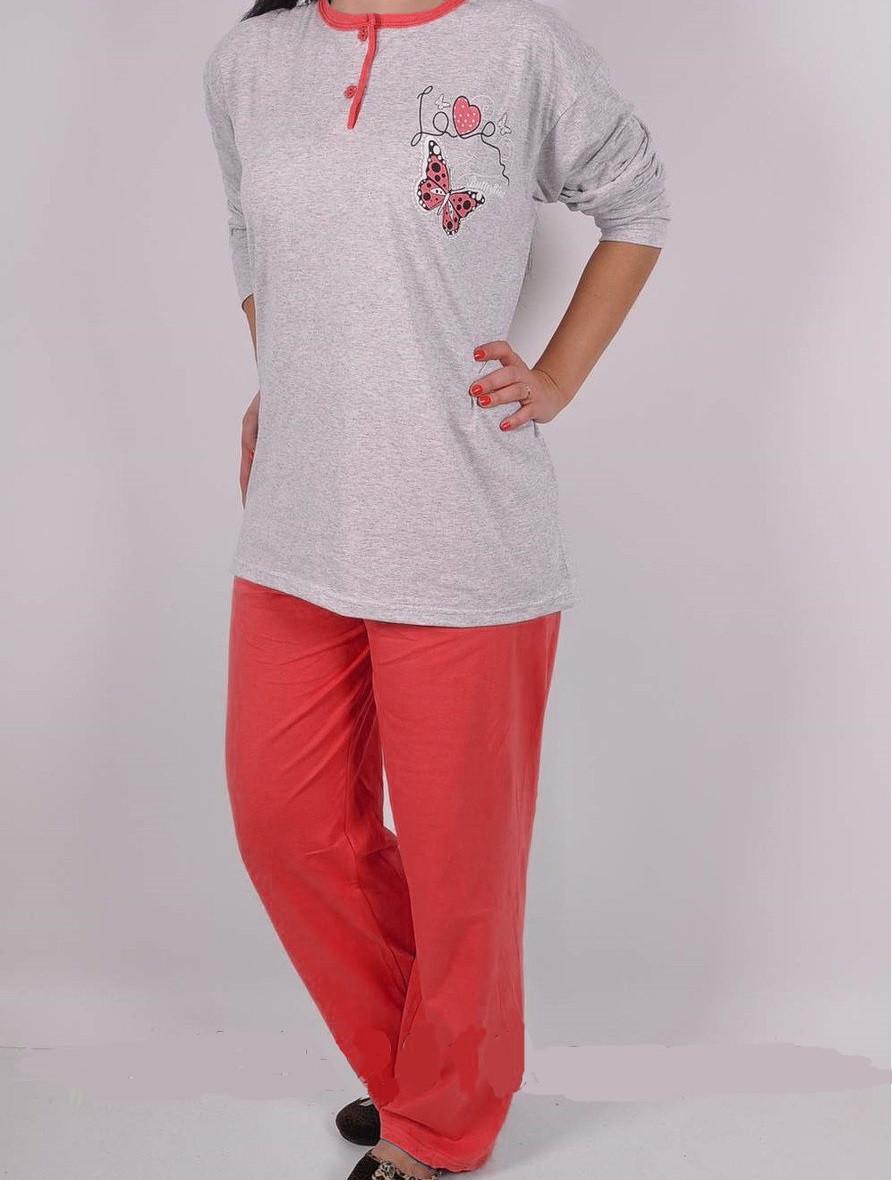 Пижама женская демисезонная (туника длинный рукав+штаны) , Клетка, оптом ПАК/3шт L,-XXL  , ARAZ,