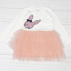 Платье для девочки, длинный рукав,(Зайчик),юбка фатин, Breeze (размер 116)