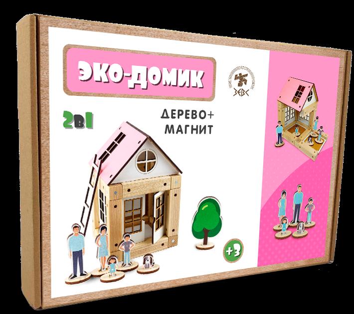 Деревянный конструктор Зевс Эко-домик на магнитах 38 деталей (ДД38)