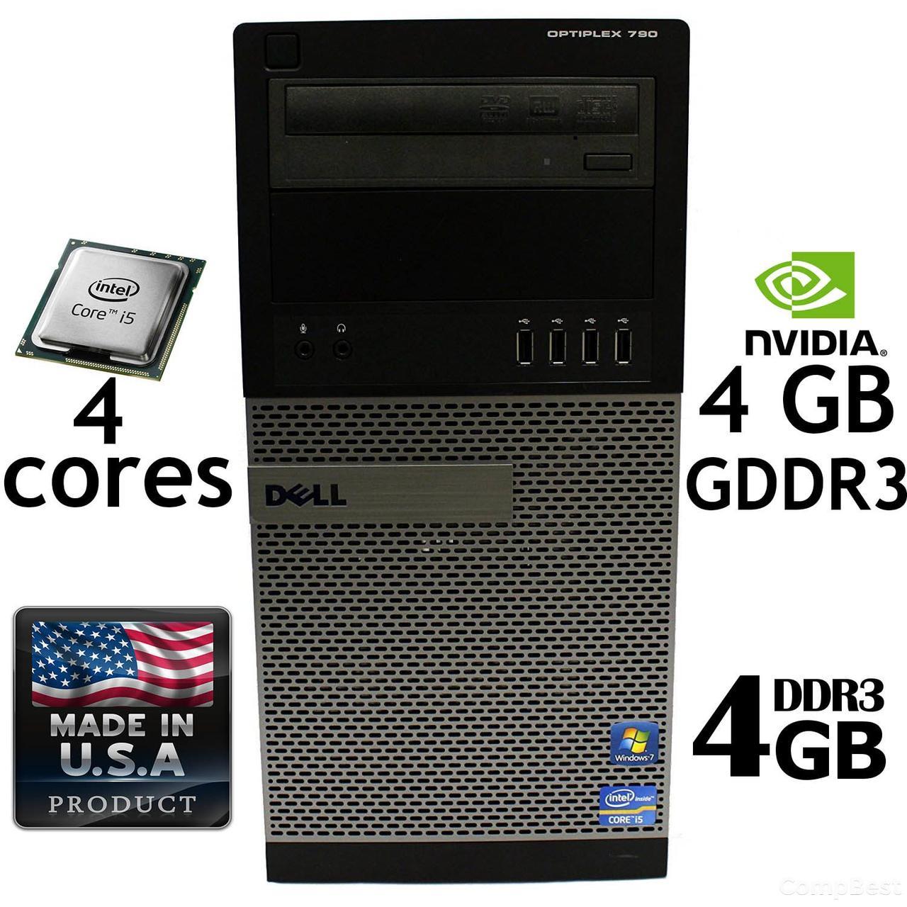 Игровой Dell 790 Tower / Intel i5-2500 (3.3GHz, 6MB Cache) / 4 GB RAM DDR3 / 250 GB HDD / GeForce GT 730 4 GB