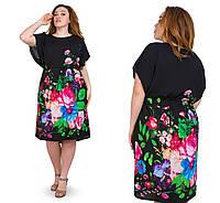 Легкое женское платье летнее яркое размеры 52-56