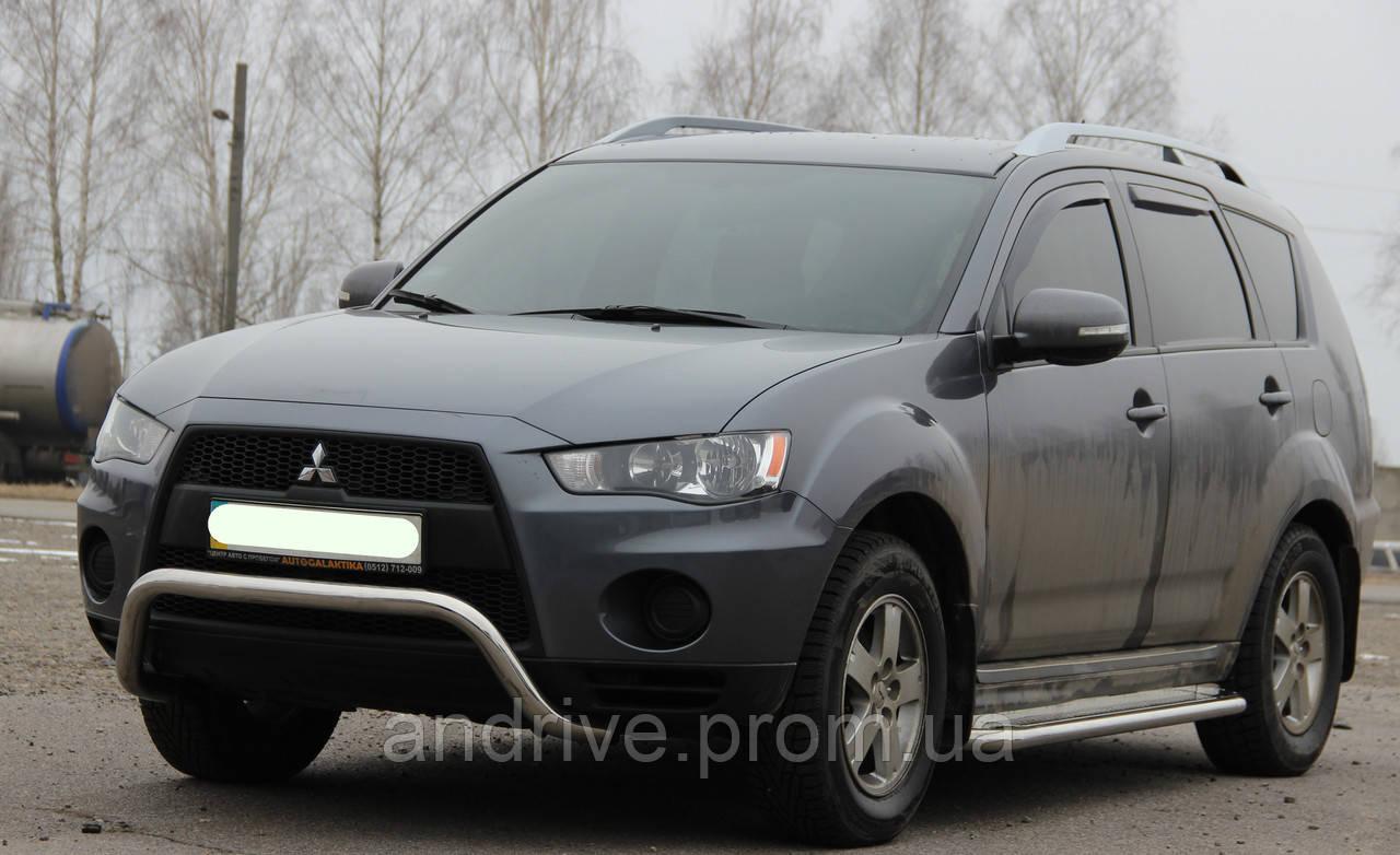 Кенгурятник без гриля (защита переднего бампера) Mitsubishi Outlander XL 2010-2012