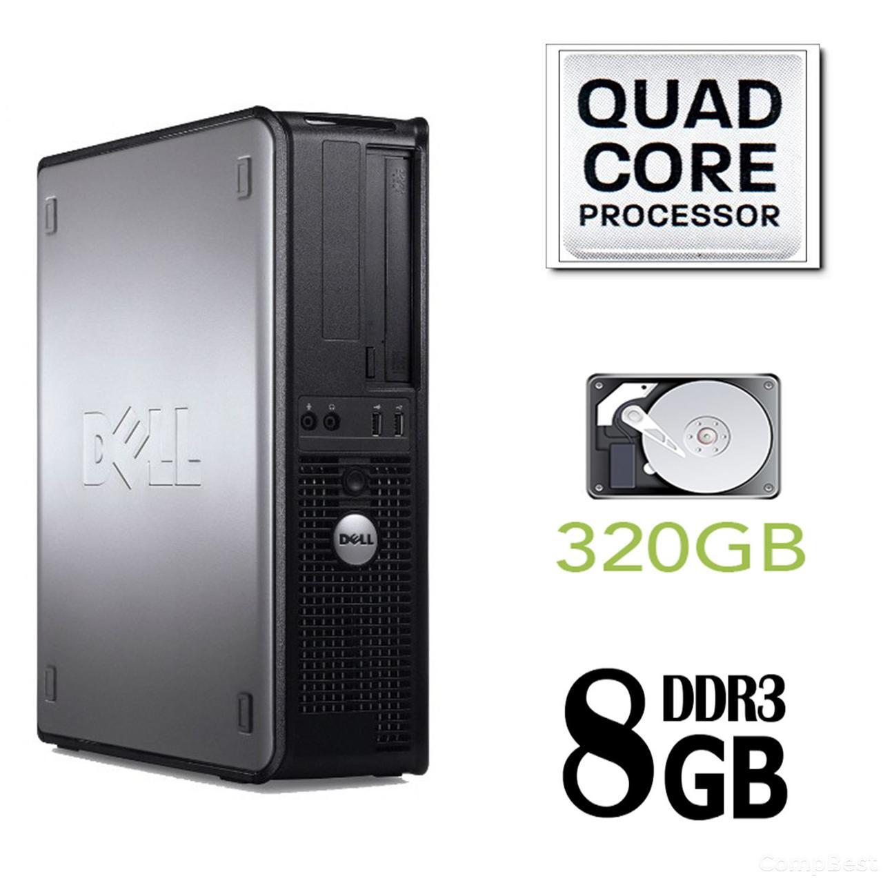 Dell 780 SFF / Intel Core 2 Quad Q8200 (4 ядра по 2.33GHz) / 8GB DDR3 / 320GB HDD / без привода