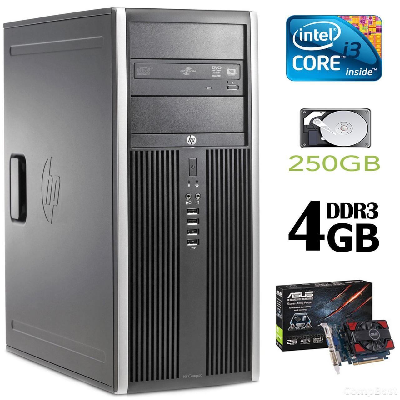 HP 6200 Tower / Intel Core i3-2100 (3.10 ГГц, 2 ядра, 4 потока) / 4GB DDR3 / 250GB HDD / new! GeForce GT 730 1Gb GDDR3 (HDMI, DVI, VGA)