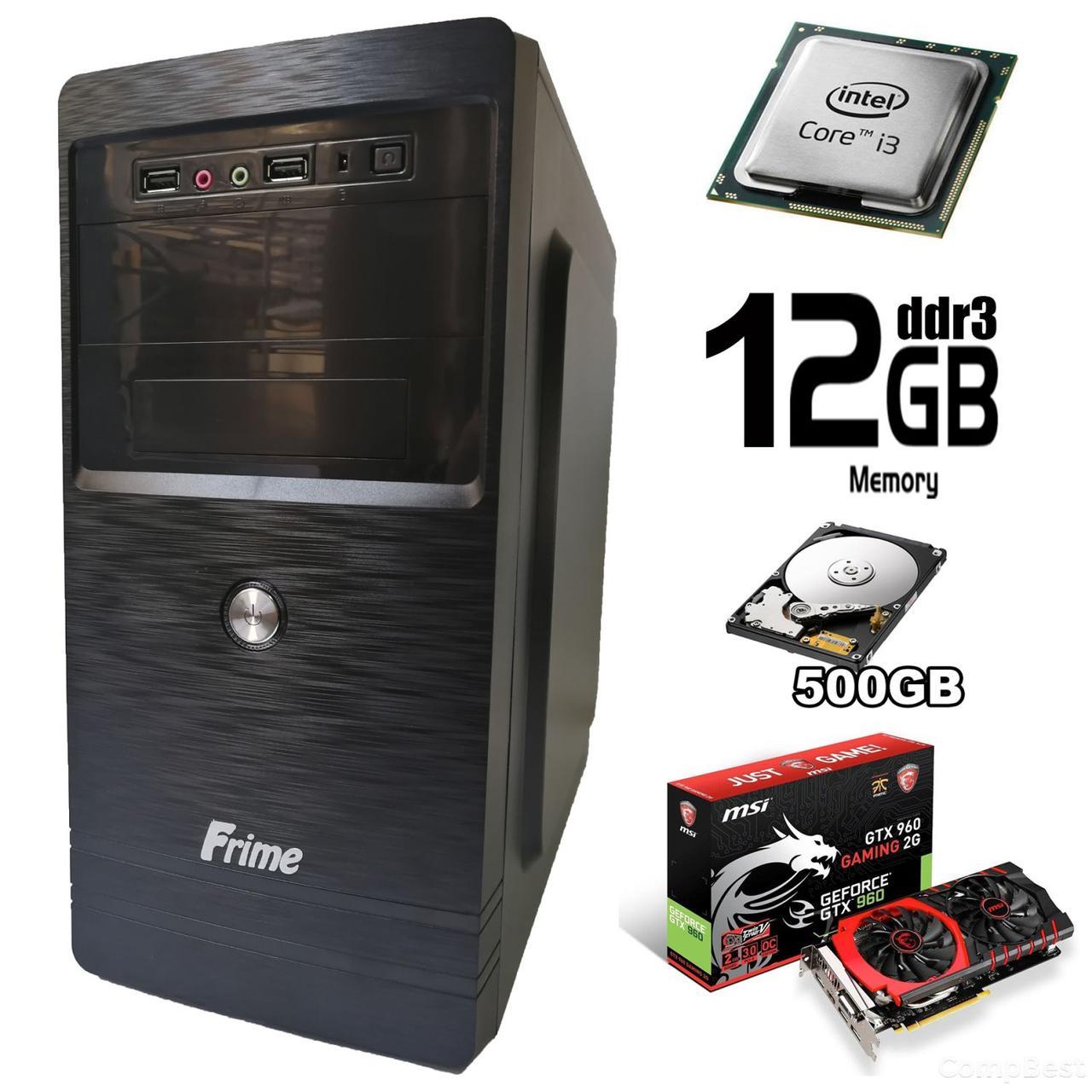 Frime Tower / Intel Core i3-4130 (2(4) ядра по 3.4GHz) / 12 GB DDR3 / 500 GB HDD / nVidia GeForce GTX 960 2GB GDDR5 128bit (HDMI, DVI, DP) / new БП